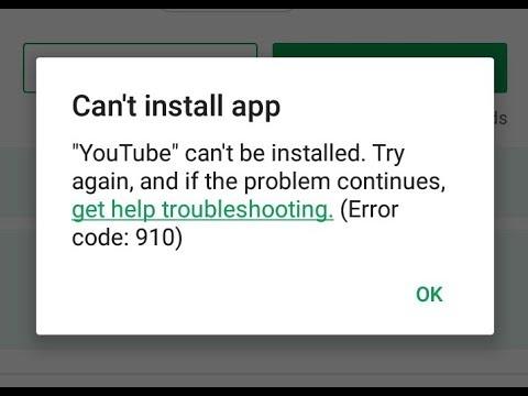 Error Code 910 Google Play Store