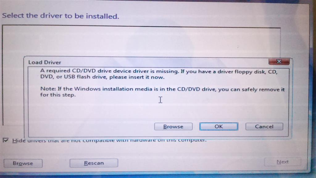 how to fix a required cd dvd drive device driver is missing occurred in windows 7 install
