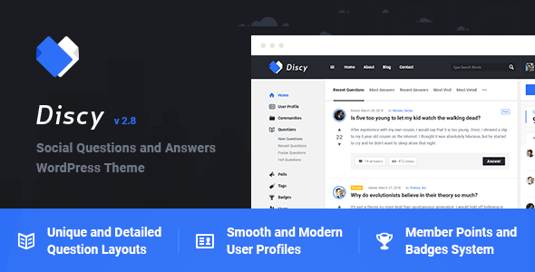 Discy - Social Questions and Answers WordPress Theme v3.2