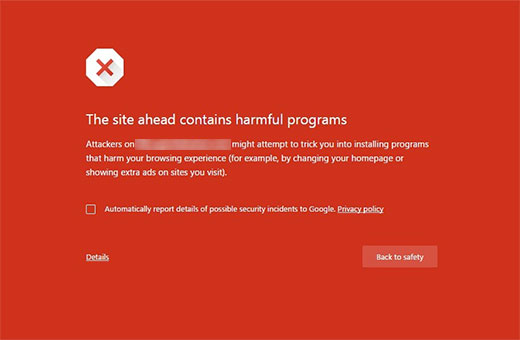 This site ahead contains harmful programs wordpress