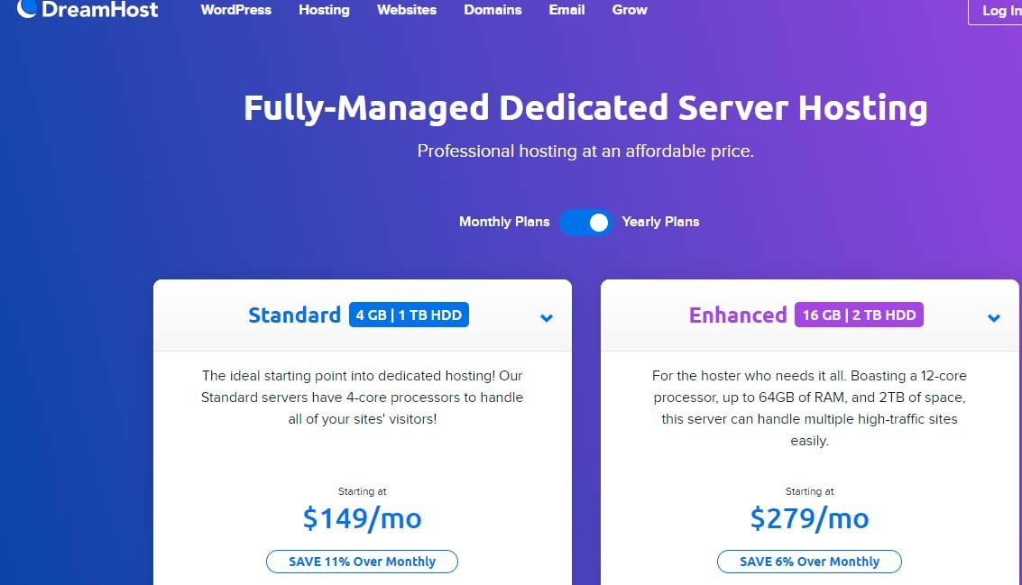 DreamHost dedicated hosting server
